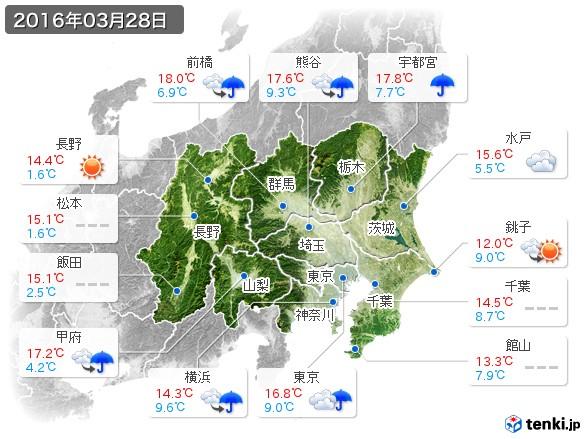 関東・甲信地方(2016年03月28日の天気