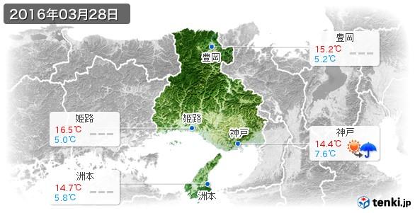 兵庫県(2016年03月28日の天気