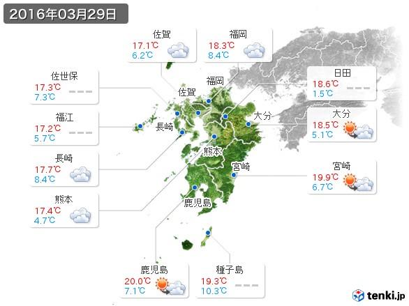 九州地方(2016年03月29日の天気