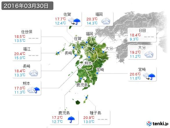 九州地方(2016年03月30日の天気