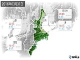 2016年03月31日の三重県の実況天気