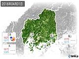 2016年04月01日の広島県の実況天気