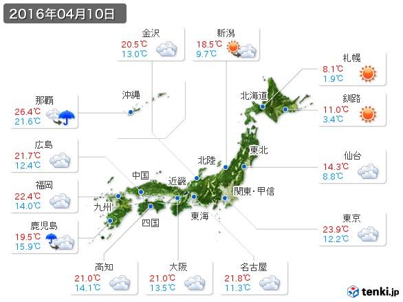 (2016年04月10日の天気