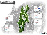 2016年04月11日の長野県の実況天気