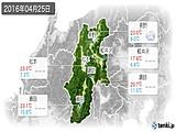 2016年04月25日の長野県の実況天気