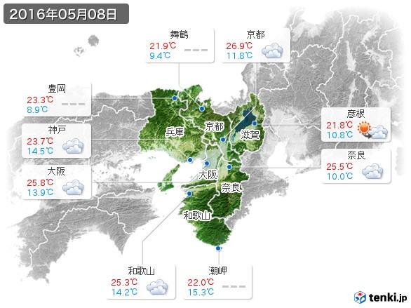 近畿地方(2016年05月08日の天気