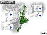 2016年05月10日の三重県の実況天気