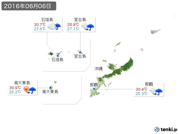 沖縄地方(2016年06月06日の天気