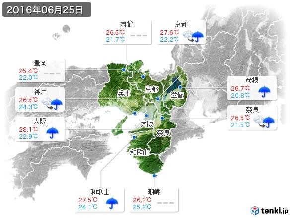 近畿地方(2016年06月25日の天気