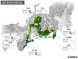 2016年07月01日の東海地方の実況天気
