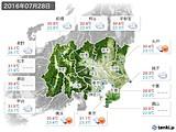 2016年07月28日の関東・甲信地方の実況天気