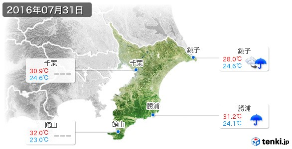 千葉県(2016年07月31日の天気