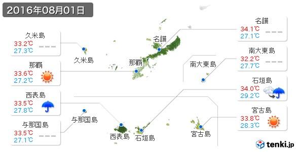 沖縄県(2016年08月01日の天気