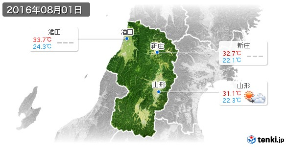 山形県(2016年08月01日の天気