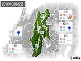 2016年08月02日の長野県の実況天気