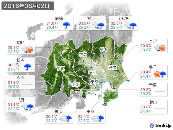関東・甲信地方(2016年08月02日の天気
