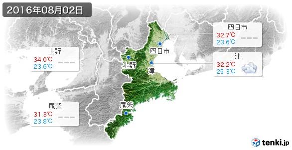 三重県(2016年08月02日の天気