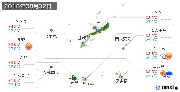 沖縄県(2016年08月02日の天気