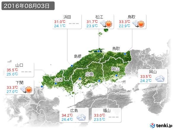 中国地方(2016年08月03日の天気
