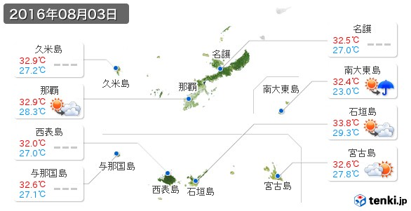 沖縄県(2016年08月03日の天気