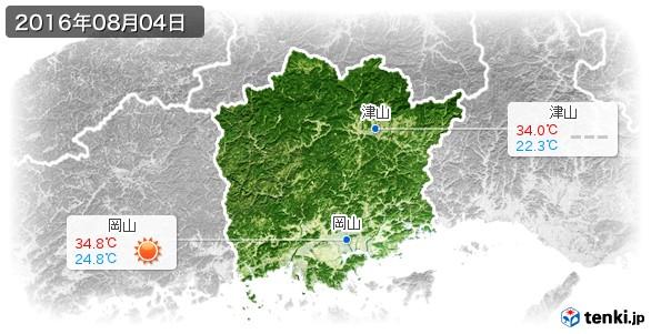 岡山県(2016年08月04日の天気