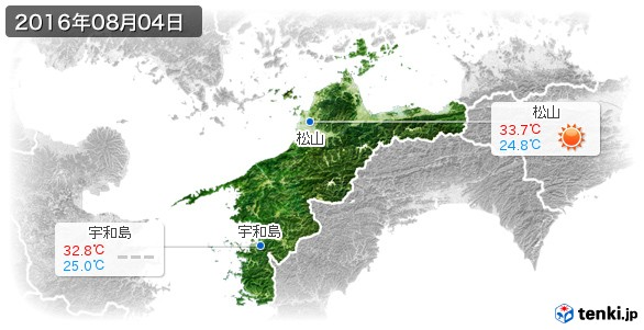 愛媛県(2016年08月04日の天気