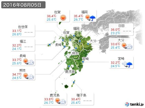 九州地方(2016年08月05日の天気