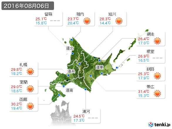 北海道地方(2016年08月06日の天気