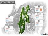 2016年08月07日の長野県の実況天気