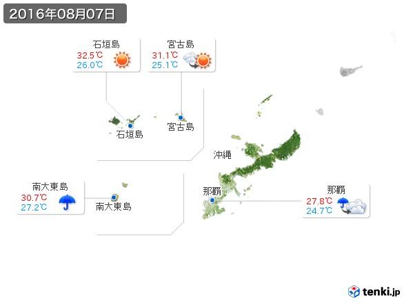 沖縄地方(2016年08月07日の天気