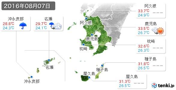 鹿児島県(2016年08月07日の天気