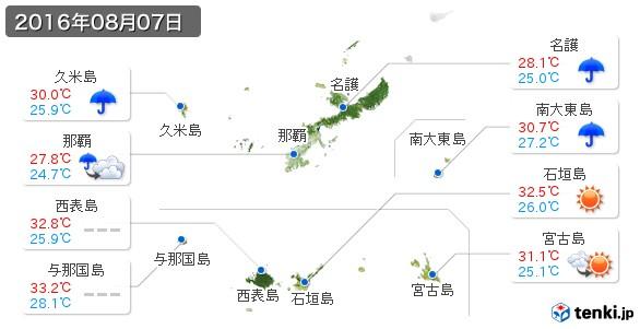 沖縄県(2016年08月07日の天気