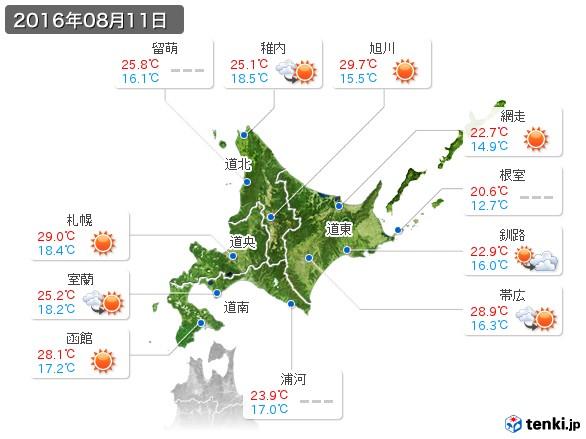 北海道地方(2016年08月11日の天気