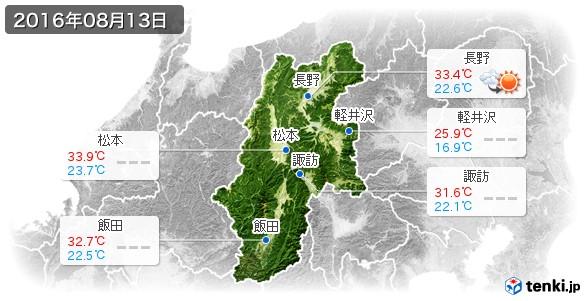 長野県(2016年08月13日の天気