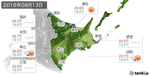 道東(2016年08月13日の天気