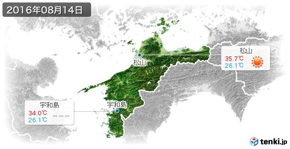 愛媛県(2016年08月14日の天気