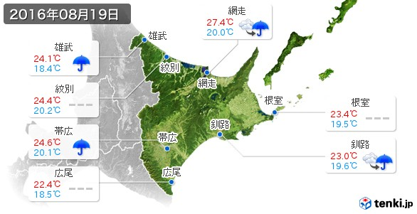 道東(2016年08月19日の天気