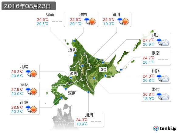 北海道地方(2016年08月23日の天気