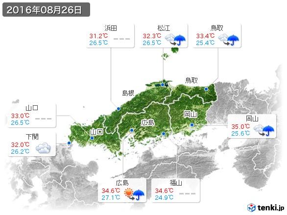 中国地方(2016年08月26日の天気