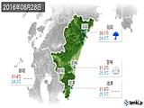 2016年08月28日の宮崎県の実況天気