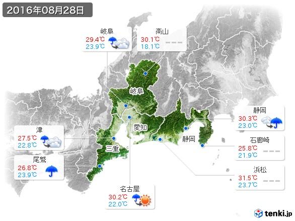 東海地方(2016年08月28日の天気
