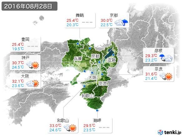 近畿地方(2016年08月28日の天気