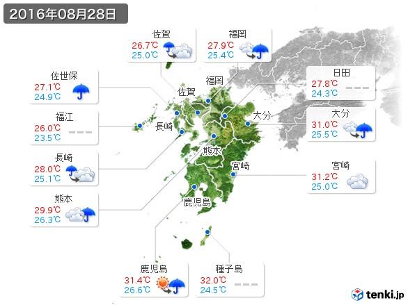九州地方(2016年08月28日の天気