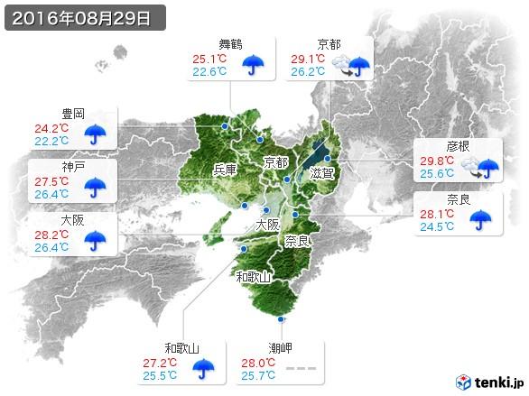 近畿地方(2016年08月29日の天気