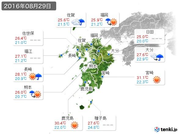 九州地方(2016年08月29日の天気