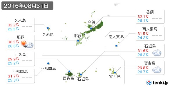 沖縄県(2016年08月31日の天気