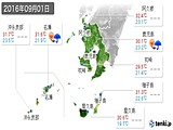 2016年09月01日の鹿児島県の実況天気