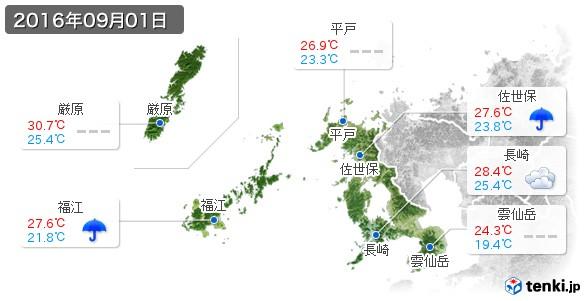 長崎県(2016年09月01日の天気