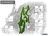 2016年09月02日の長野県の実況天気