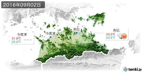 香川県(2016年09月02日の天気